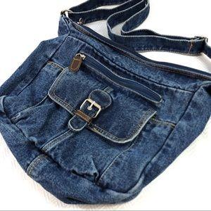 Handbags - Medium Sized Denim Shoulder Bag